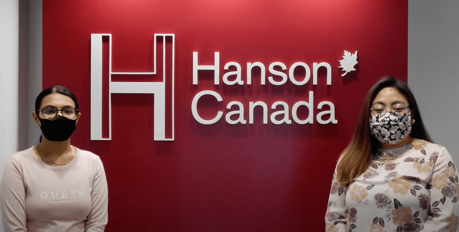 Two women in front of Hanson Canada office