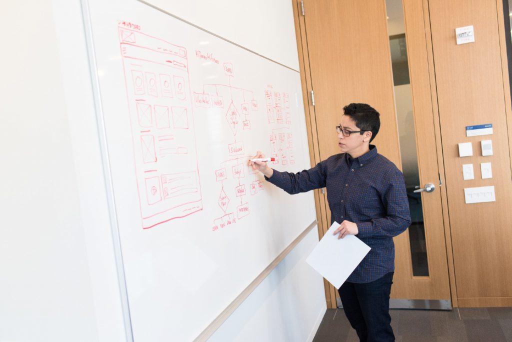 Teacher writing on white board